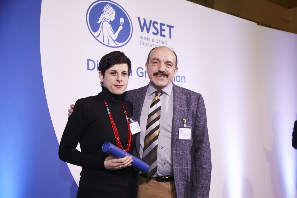 Receiving my WSET Diploma certificate from Gerard Basset OBE, MW, MS, MBA, DipWSET